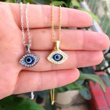 silver eye necklace images 925 sterling silver turkish evil blue eye necklace with cz stones jpg