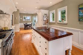 Wainscoting Backsplash Kitchen Country Kitchen With Wainscoting Wood Counters In Seattle Wa