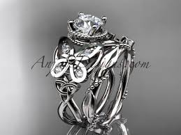 butterfly engagement ring 14kt white gold diamond celtic knot wedding ring butterfly