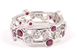 ruby band co bubbles platinum diamond ruby band ring size 7 5 with box