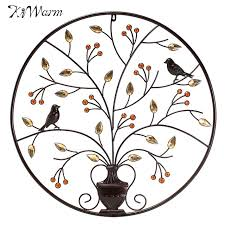 kiwarm modern black birds tree metal iron sculpture ornament for