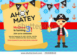 ahoy matey pirate boy birthday invitation stock vector 291680849