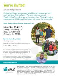 chicago global health alliance cgha molina thanksgiving food