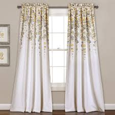 Yellow And Gray Window Curtains Weeping Flower Room Darkening Window Curtain Pair Lush Decor