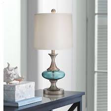 Brushed Steel Desk Lamp Reiner Brushed Steel And Blue Green Glass Table Lamp 6w926