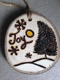 rustic wood burned pine tree and snowflake ornament my