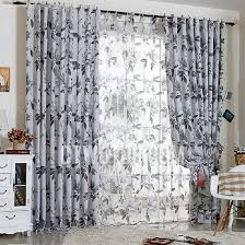 Grey And Green Curtains Print Floral Decorative Grey And Green Curtains