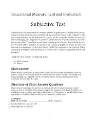 Answering The Essay Short Answer Exam Question Quality Writing by Subjective Test