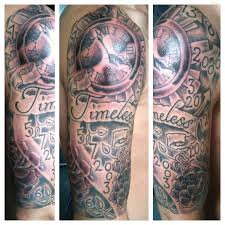 time clock tattoo sleeve pin timeless clock tattoo cool