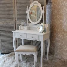 coiffeuse chambre adulte shabby chic white dressing table set mirror stool bedroom