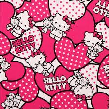 kitty oxford fabric pink hearts sanrio japan