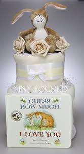 baby boy unisex two tier nappy cake guess how much i love you