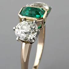 three stone engagement rings art deco 3 stone engagement ring