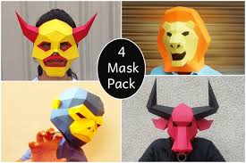 printable bull mask halloween diy mask party mask papercraft monkey by paperamaze on
