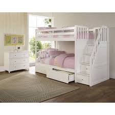 Bunk Bed With Storage Stairs Bedroom Amazing White Bunk Bed With Stairs Beds Storage Stair