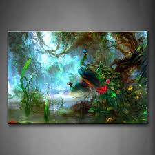 Peacock Decor For Home by Amazon Com First Wall Art Two Peacocks Walk In Forest