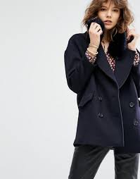 sweater with faux fur collar maison scotch boxy fit jacket with removable faux fur collar navy