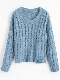 light blue cable knit sweater v neck chunky cable knit sweater light blue sweaters one size zaful