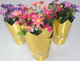 decorative flower metallic film handmade flower pot covers for decorative flower