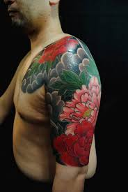 men chest and half sleeve cool peony flower tattoo golfian com