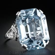 large art deco aquamarine ring