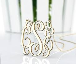Gold Monogram Necklace Personalized Monogram Necklace 3 Initial Nameplate Necklace Plated