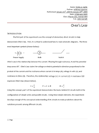 physics 222 ohm u0027s law lab report series and parallel circuits