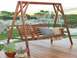 Swing Patio Chair Wooden Porch Swings The Unique Furniture For Garden And Patio