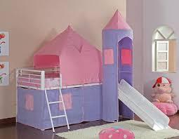 Fantasy Castle Pink Bunk Bed With Slide - Pink bunk bed