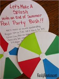 young women weekly activity idea end of summer pool party