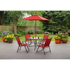 Patio Table Grommet Mainstays Albany Folding Dining Set Colors