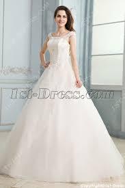 scoop modest wedding dress with cap sleeves 1st dress com