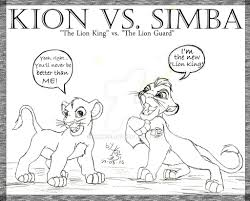kion vs simba lineart by yukisei on deviantart