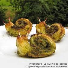 escargot cuisiné feuilletés apéritifs rigolos faux escargots de la cuisine