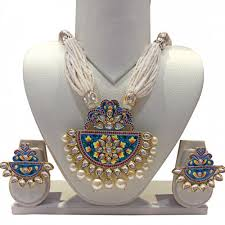ethnic necklace design images Buy blue ethnic design heavy pendant with ear tops online jpg