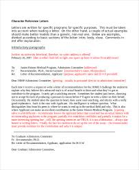 9 character reference letter template free sample example