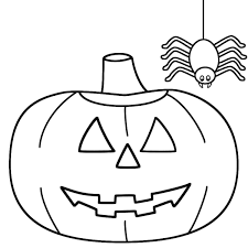 spider pumpkin simple halloween coloring pages animal coloring
