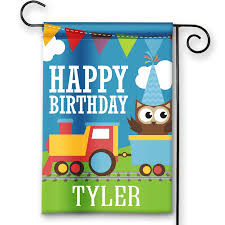 Happy Birthday Flags Train Theme Boys Happy Birthday Personalized Party Banner Garden