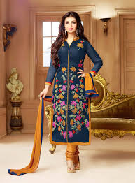 beautiful designer dark blue cotton salwar suit salwar kamiz