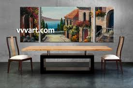 dining room art 3 piece colorful city oil paintings photo canvas