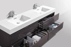 Bathroom Sink Modern Bliss 72 High Gloss Gray Oak Wall Mount Sink Modern
