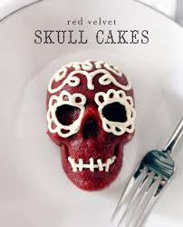 Mini Halloween Cakes by Shore Society Make It Red Velvet Skull Cakes