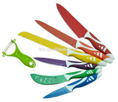 7pcs non stick coating stainless steel color kitchen knife set