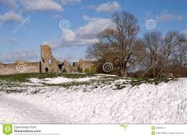 pevensey castle sussex in snow stock images image 30866814
