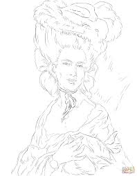 a woman in blue by thomas gainsborough coloring page free