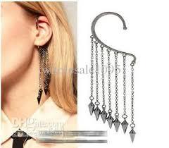non pierced earrings 2018 spikes rivet tassel cuff earrings for non pierced ear