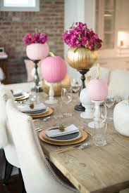 decorating for fall parties with pink and gold pumpkins pumpkin