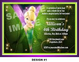 colors tinkerbell birthday invitations