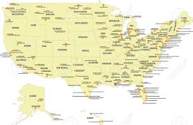 Unites States Map by International Airports In The United States Map Royalty Free
