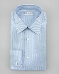 charvet check dress shirt in blue for men lyst